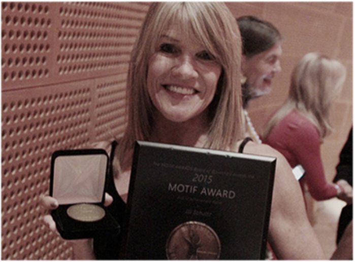 Jill Schultz of Peanuts was named a recipient of the 2015 Motif Award Arts of Achievement Medal of Honor in Memoriam of her father Charles M. Schultz.