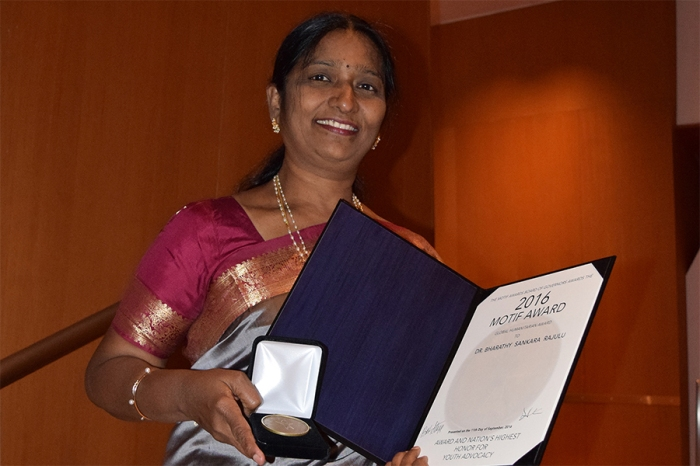 Dr.Bharathy Sankara Rajulu was named a recipient of the 2016 Motif Award Global Humanitarian Honor in memoriam of Theodor Seuss Geisel